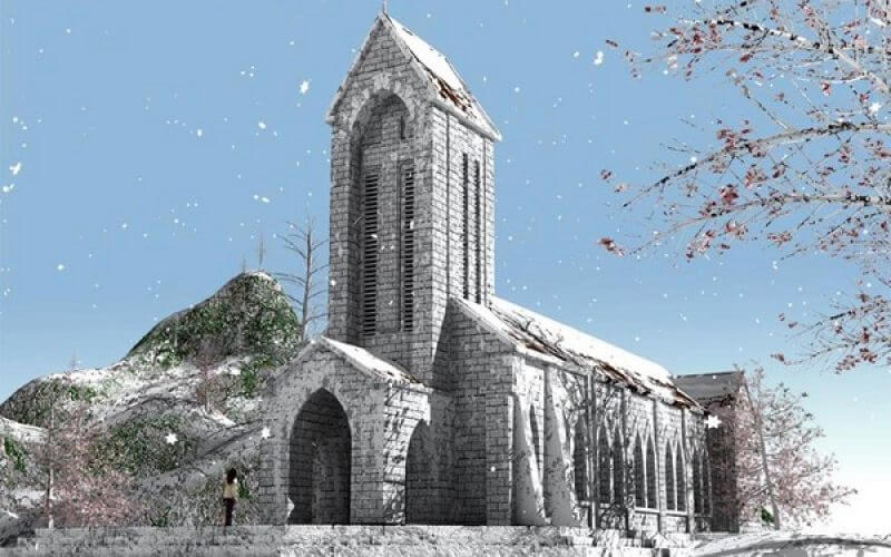 Sapa Church Covered by snow in December