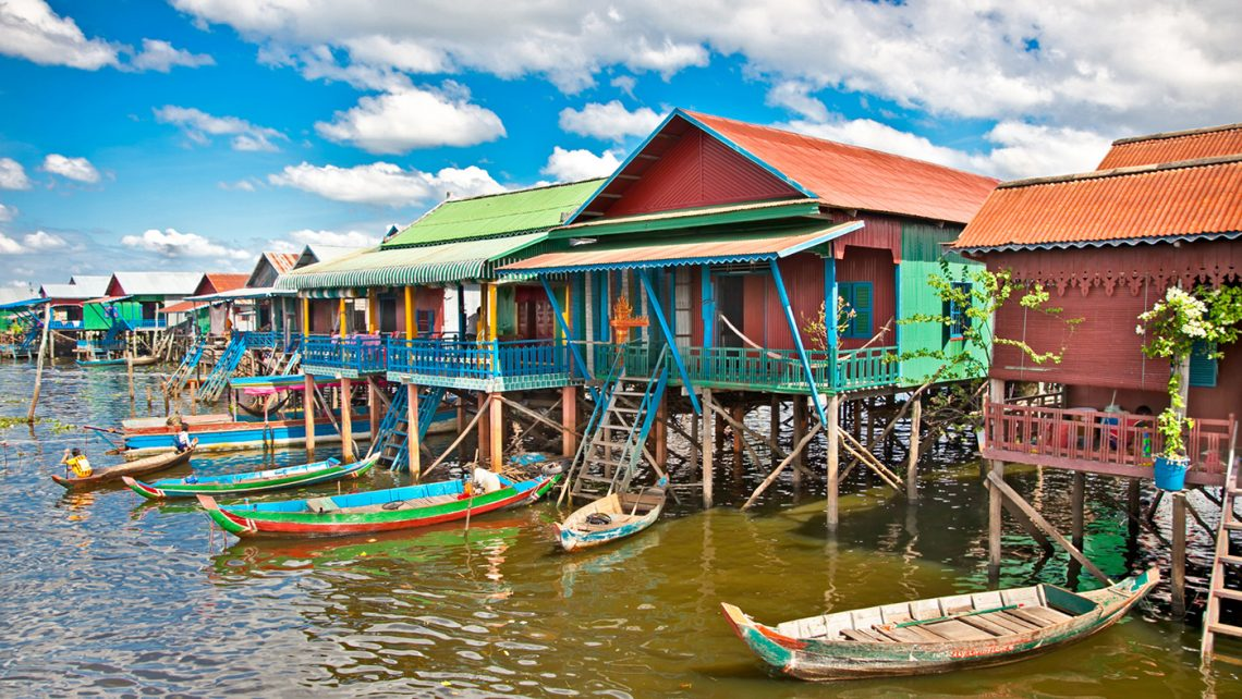Kampong Phluk floating village during the rainy season
